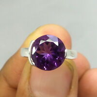 10MM Round Shape AAA Natural Amethyst 925 Sterling Silver Birthstone Unisex Ring
