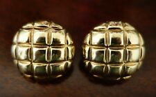14K YELLOW GOLD  ROUND omega clip EARRINGS 28 mm DIAMETER 7.2 GRAMS