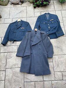 Royal Air Force RAF Job Lot Officers Jacket Battle Blouse Great Coat Badges 1960