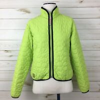 Descente North America DNA Women's Lime Green Black Trim Quilted Jacket. Size 8.
