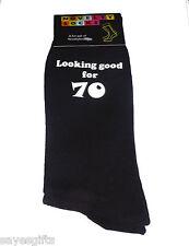 Looking Good for 70 Printed Design Mens Black Socks Great 70th Birthday Gift