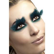 Faux cils plumes noires à pois bleus turquoise adulte Carnaval deguisement