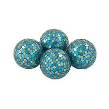 Attractive Pvc Glass Turquoise Mosaic Orb Decorative Accessory Set Of 4 New