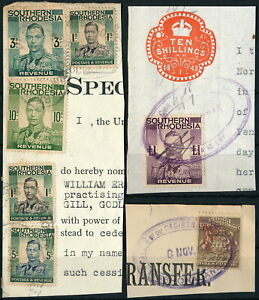 RHODESIA, CLASSIC NICE LOT OF DIFF. REVENUES ON FRAGMENTS TO £1 VALUE.  #A745
