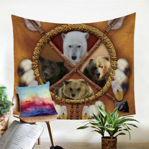 Bear Dreamcatcher 3D Boho Wall Tapestry Hanging Throw Cover Home Room Decoration