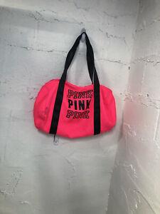 victoria secret pink hot pink duffle bag