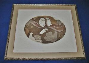 Framed & Matted Etching by Esteban Alvarez TRYST, Signed and Numbered, 1984 COA