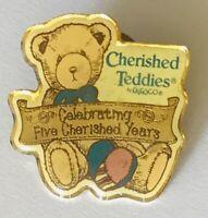 Cherished Teddies ENESCO Charity Celebrating 5 Years Pin Badge Rare (A10)