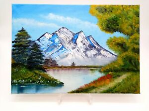 Oil On Canvas Painting Of A Mountain And Lake With Ever Greens