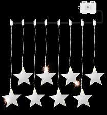 AMARE LED Acrylvorhang 8 x Stern Länge 84cm kaltweiß 6h-Timer Schaltung parallel