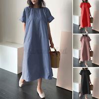 ZANZEA 8-24 Women Plain Solid Basic Long Maxi Dress Sundress Abaya T-Shirt Dress