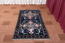 3x7 Oriental Vintage Traditional Hand Knotted Blue Wool Runner Area Rug
