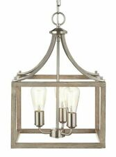 Chandelier 14 in. Brushed Nickel Painted Weathered Gray Wood Accent 3-Light