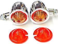 Chrome Bullet Blinkers Turn Signal Light Set retro winker egg Amber/Red