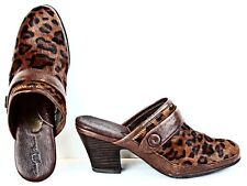 Born Womens Mules sz 8 M Brown Black Hair Calf Leopard Print Heels WF31x