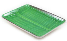 """Melamine Dinner Party Serving Plates Dish Tropical Banana Leaves Printed 14""""x2Pc"""