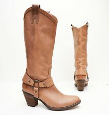 FRYE TAYLOR HARNESS 77465 Fawn Tan Brown Leather Western Harness Boots Sz 8