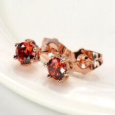 Women's mini Ear stud Earrings 18k Rose Gold Filled Fashion Jewelry Gift
