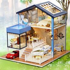 Seattle Cottage Dollhouse Miniature DIY Kit Dolls House with Furniture Kids Gift