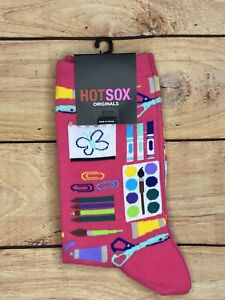 HOT SOX One Pair Womens Size 9-11 Hot Pink ART SUPPLIES Paintbrush Markers Paint