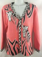 HSN Storybook Knits Coral Pink Zebra Embroidered Beaded Cardigan Sweater M