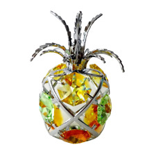 Crystocraft Pineapple Ornament With Swarovski Elements Gift Boxed Yellow Green