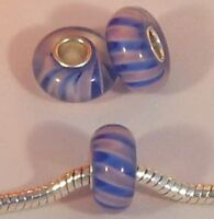 ♥ Bead Glas blau rosa silber Single Core European Modul ♥ PBM012