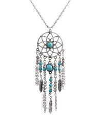 Silver and turquoise dream catcher style flower and leaf chandelier necklace