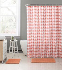 "Coral & White Fabric Shower Curtain: Honey Comb Octagonal Geo Design, 72"" x 72"""