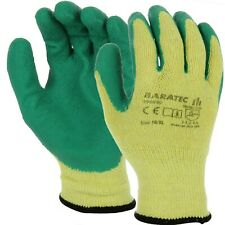 120 Pair Baratec Latex Coated Green Builders Grip Gripper Work Gloves Large / XL