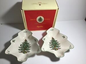 "Spode CHRISTMAS TREE S3324-A7 Set Of 2 Tree-Shaped Serving Dish Bowl 8""x7.5"""