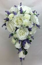 Artificial Flower Cream Rose/Carnation Purple Lavender Flowers Teardrop Bouquet