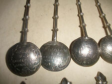 Rare antique set of 10 Vatican silver coin bowls spoons Pope Clement XII etc