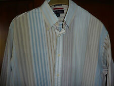 Hilfiger size L large cotton shirt striped white multicolour long sleeved shirt