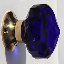 Cobalt Blue mortice  door knobs (pair) large  cut glass polished brass base
