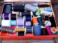 Vintage Tin & Mixed Lot Cotton Sewing Thread Sylko Etc Many Shades & Colours