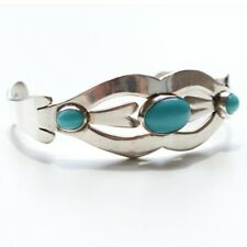 Vintage Mexico 925 Sterling Silver Turquoise Stone Cuff Bracelet