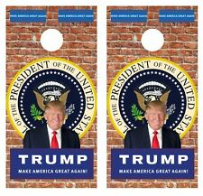 President Trump Old Brick Wall Cornhole Board Game Wraps FREE APP SQUEEGEE #634