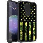 MetKase Hybrid Slim Phone Case Cover For Cricket Influence - GREEN CAMO 1/2 FLAG