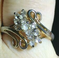 Gold-Toned Rhinestone Cluster Style Dinner Ring - Size 7