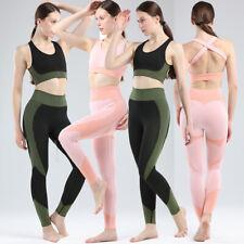 Womens Seamless Yoga Set Yoga Suit Crop Top&Leggings Bra Pants Sports Gym Outfit