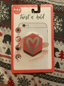 Vivitar Twist N' Hold phone grip and stand Silver/pink Heart