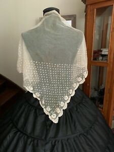 Antique Handmade French Needle Lace work Fichu, Application on tulle 1m40 by68cm