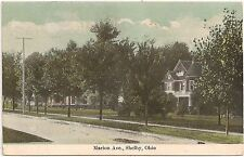View on Marion Avenue in Shelby OH Postcard 1909