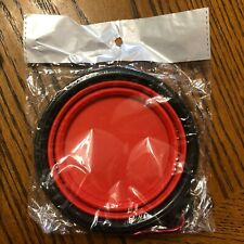 "Travel Silicone Water/Food Dish Pet Dog Cat Collapsible 5"" RED NIP w/Carabiner"