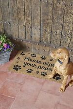 Coir Natural Please Wipe Your Paws Anti Slip Door Mat Outdoor Welcome Paw Print