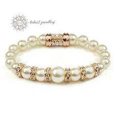 Pearl Bracelet for Wedding/Bridesmaid/Simulated Diamond/18K GP/RGB034G