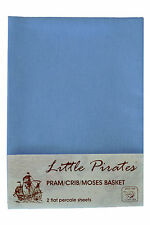 2 x Baby Pram/Crib/ Moses Basket  Flat Sheet 100% Cotton Blue