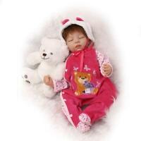 55cm Full Body Silicone Vinyl Reborn Baby Girl Doll Newborn Child Birthday Gifts