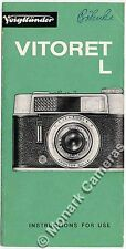 Voigtlander Vitoret L Instruction Leaflet. More Original Books & Manuals Listed